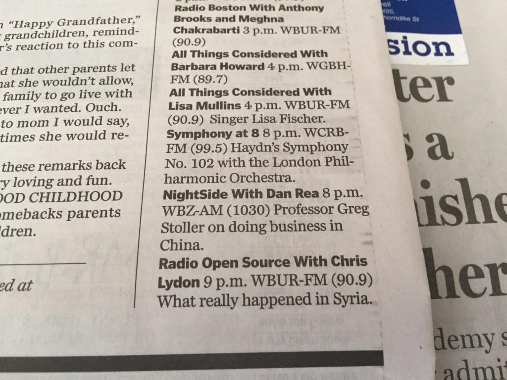 9 pm Radio Appearance: AM 1030, CBS Radio / WBZ Nightside